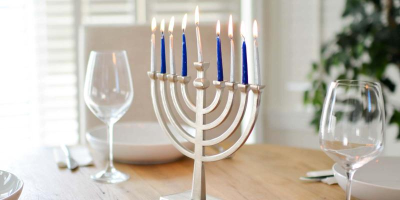Chanukiah at Chanukah (Hanukkah)