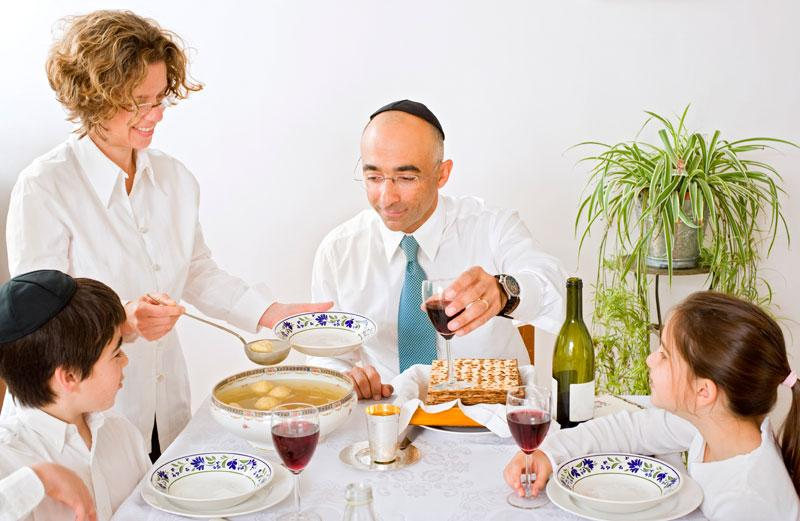Jewish family celebrating