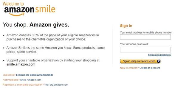 Amazon Smile Homepage